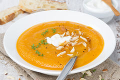 Carrot soup with almonds, yogurt and watercress in a plate Stock Image