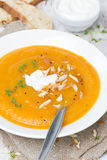 Carrot soup with almonds, yogurt and watercress Royalty Free Stock Photos