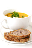 Carrot soup and bread Royalty Free Stock Photos