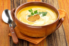 Carrot soup with croutons and parsley Royalty Free Stock Image