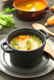 Carrot soup with fennel and walnuts and parsley Royalty Free Stock Images