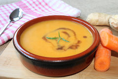 Carrot soup with ginger Stock Photo