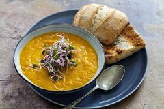 Carrot soup with green sprouts. Carrot soup with the topping of green sprouts stock images