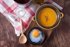 Carrot soup with onsen egg Royalty Free Stock Photography