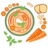 Carrot soup. Pattern of carrot vegetable soup Royalty Free Stock Photo