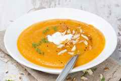 Carrot Soup With Almonds, Yogurt And Watercress Stock Image