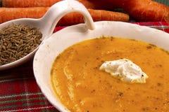 Carrot Soup with Yogurt and Cumin Stock Photos