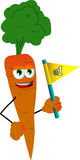 Carrot sports fan with flag Royalty Free Stock Images