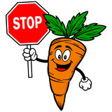 Carrot with Stop Sign Royalty Free Stock Images