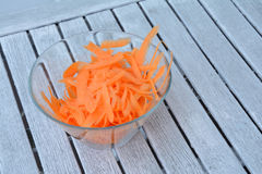 Carrot strips in glass bowl Royalty Free Stock Photos