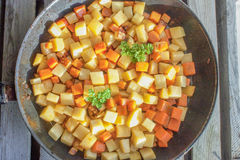 Carrot and swede dice and parsley Stock Images