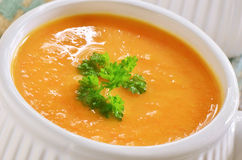 Carrot sweet potato soup Royalty Free Stock Photos