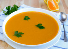 Carrot sweet potato soup Stock Photo