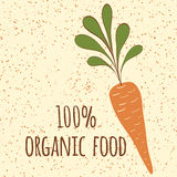 Carrot symbol. Fresh vegatable. Print made on cartoon design. Organic food. Lettering. Stock Images