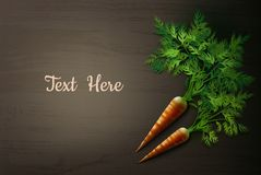 Carrot on the table. Vector illustration of carrot on wooden table with space for text. Isolated, top view Royalty Free Stock Photo