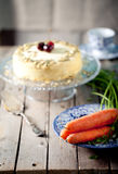 Carrot vegan cake with fresh carrots Royalty Free Stock Images