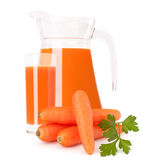 Carrot vegetable juice in glass jug. Isolated on white background cutout Royalty Free Stock Images