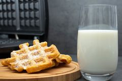 Two homemade carrot waffles on a wooden board, on a wooden round board, sprinkled with powdered sugar with a glass of milk nearby. royalty free stock photography