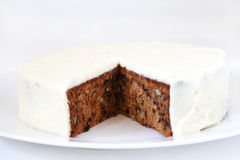 Carrot and walnut cake with marzipan icing Royalty Free Stock Image
