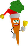 Carrot wearing Santa's hat and playing bell Stock Photography
