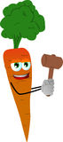 Carrot with a wooden hammer Royalty Free Stock Photo