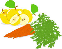 Carrot and yellow apple,  illustrations Stock Image