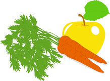 Carrot and yellow apple,  illustrations Stock Photo