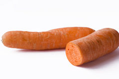 Carrots. Two carrots vegetable background on isolated white Stock Photo