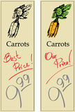 Carrots. Two Price Tags with Vintage Effect Stock Photos