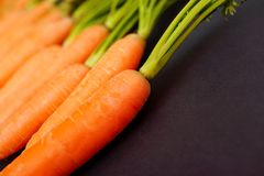 Carrots. Abstract view on some carrots - very thin depth of field on the top of the first one Stock Photography