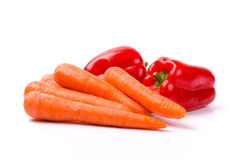 Carrots And Red Paprika Stock Photos