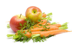 Carrots and apples Stock Image