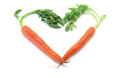 Carrots Arranged in Heart Shape Royalty Free Stock Image