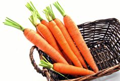 Carrots in a basket Royalty Free Stock Photos