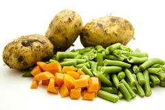 Carrots and beans with potato Royalty Free Stock Images