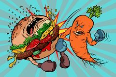 Carrots beats a Burger, vegetarianism vs fast food. Comic book cartoon pop art retro vector illustration Stock Photo
