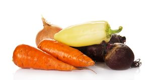 Carrots, beet, pepper and onions Royalty Free Stock Photos