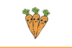 Carrots  cartoon  on white background Stock Images