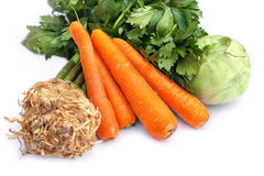 Carrots, celery and kohlrabi Stock Images