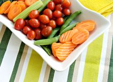 Carrots, Celery, Tomatoes, Broccoli, and Sugar Sna Stock Photos