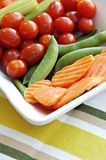 Carrots, Celery, Tomatoes and Sugar Snap Peas Stock Images