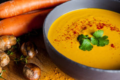 Carrots and chestnuts soup Royalty Free Stock Photography