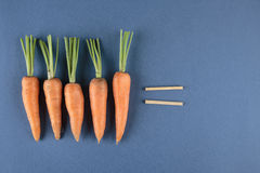 Carrots and children mathematics Royalty Free Stock Photo