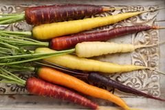 Carrots. Colorful carrots on a wooden background Stock Photo