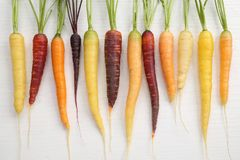 Carrots. Colorful carrots on a wooden white background Royalty Free Stock Images