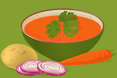 Carrots and coriander soup vector Stock Photography