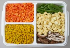 Carrots corn peas mushroom pumpkins chopped in cube shape for co royalty free stock images