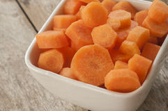 Carrots cut in bowl close up Stock Photography