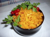Carrots diced in a bowl. With parsley Royalty Free Stock Image