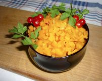 Carrots diced in a bowl. With parsley Stock Images